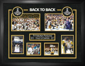 Penguins-back-to-back-framed-collage-with-real-pucks24x32-300